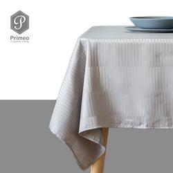 "PRIMEO Premium Jacquard Rectangular Table Cloth 100% Polyester 54"" x 72"" Gray  Heavy Duty Fabric 150gsm Modern Italian Design"