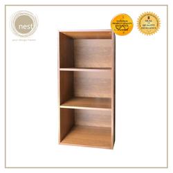 Nest Design Lab Low Open Cabinet 3 Layer Shelf- Storage Organizer-Walnut
