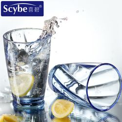 Blue Colored  Castle Drinking Glass set of 6 pcs