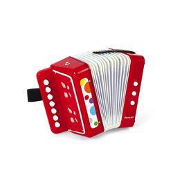 Janod Confetti Accordion Vibrant Colored First Musical Instrument for Coordination and Motor Skills