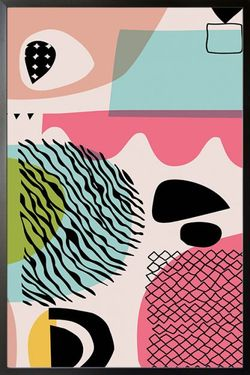 """ABSTRACT SHAPES FREEHAND LINES POSTER 11x15"""""""