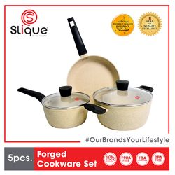 SLIQUE Premium Forged Cookware Set Multi Layer Non-Stick Marble Coating, Induction Base, Bakelite Handle Amazing Gift Idea For Any Occasion!