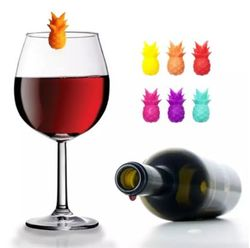 6 pcs Quality Silicone Party Wine Glass Marker Charms Pineapples Set