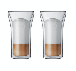 Bodum 4547-10 ASSAM Coffee Glass Set (Double-Walled, Dishwasher Safe, 0.4 L/14 oz) - Pack of 2, Transparent/4547-10