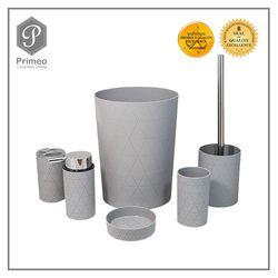 PRIMEO Premium Bathroom Accessories Beige Soap Dish , Soap Lotion Dispenser, Tumbler ,Toothbrush Holder ,Trash Bin  Set of 6