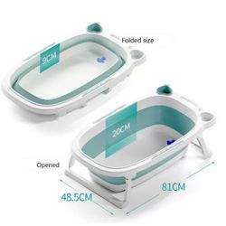 Collapsible Bath Tub with Support Pad/Cushion and Scooper/Cup Set
