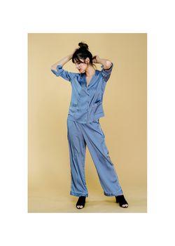 Intissimo Anastasia (Azul) Silk Long Pajama
