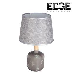 Edge Houseware 23x38cm Modern Table Lamp Ceramic Wood Tall Drum Shade for Living Room Family Bedroom