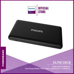 Philips Powerbank DLP8720C 20,000 mAh Fast Charge Mobile Power Type C with Power Delivery 3A + 1 USB Quick Charge 3.0