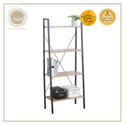Nest Design Lab 4-Tier Compact Multi-Purpose Ladder Shelf, Storage Display Shelf Rack Filing