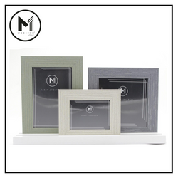 MODERNO Premium Picture Frame Set of 3 White Gray Green Wood Finish Modern Italian Design Amazing Gift Idea For Any Occasion!