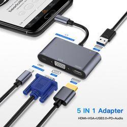 5 in 1 Type-C To HDMI + VGA + USB 3.0 + USB-C + 3.5mm