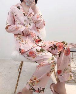 White Label Peony Silk Longsleeve Pajama Set