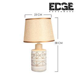 Edge Houseware 23x38cm Modern Table Lamp White Ceramic table lamp Shade for Living Room Bedroom Bedside Nightstand Office Family Free Bulb