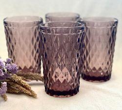 Colored Blush Purple Vintage Glass Tumblers, set of 4 pcs