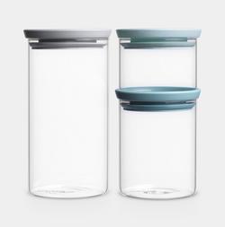 Brabantia Stackable Glass Jar - Set Of 3 - Assorted