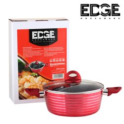 Edge Houseware 26cm Nonstick Stockpot with Glass Lid, Aluminum Red Pot