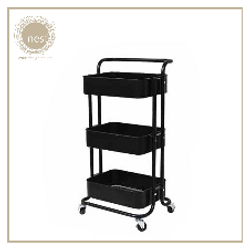 Nest Design Lab Utility Cart 3 Layer Storage Shelf Trolley Rack-Multi Purpose-Stainless- Black