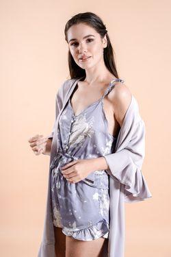 Intissimo Ruffles   Silk Lace Robe (Lavender)