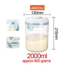 Ankou Airtight 1 Touch Button Clear Container With Scoop Spoon and Holder 2000ml Round