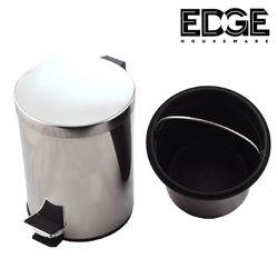Edge Houseware Waste Bin Stainless Steel Paddle Bin 5 liters Pedal Stainless Steel Trash Bin Waste Bin Garbage Can