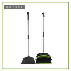 SCRUBZ Heavy Duty Cleaning Essentials Easy Grip Premium Dustpan and Broom Set 25cm X 26cm X 102cm Clean all Types of Surface Amazing Gift Idea For Any Occasion!