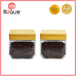 Slique Glass Food Storage XS Container Set, Air tight Food Jars with Bamboo Wooden Lids, Set of 2