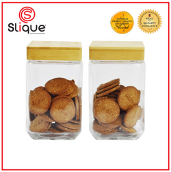 Slique Glass Food Storage Medium Container Set, Air tight Food Jars with Bamboo Wooden Lids, Set of 2