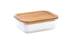 Masflex 320 ML Rect Glass Food Containerw/Bamboo
