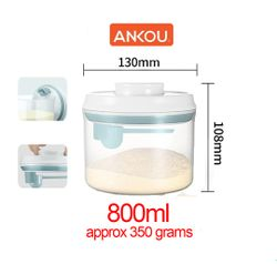 Ankou Airtight 1 Touch Button Clear Container For Milk/Food With Scoop Spoon and Holder 800ml Round