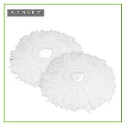 SCRUBZ Heavy Duty Cleaning Essentials Premium Microfiber Spin Mop Refill 130grams Set of 2