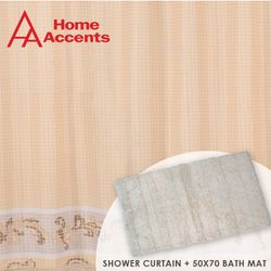 Shower Curtain  with  Cotton Bath Mat
