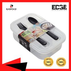 Edge Houseware Lunch Box for Kids & Adults with Spoon & Fork,Reusable  Food Storage Container Boxes, On-the-Go Meal and Snack Packing