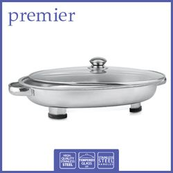 PREMIER	PFS 5438	STAINLESS STEEL OVAL FOOD SERVER W/ GLASS LID