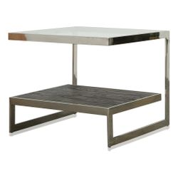 Milo Side Table Glass top + Stained Black Oak Stainless Steel Legs