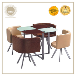 NEST DESIGN LAB Dining Table Set Square Glass 4 Seater 90x90cm Condo Living Modern Italian Design Amazing Gift Idea For Any Occasion!