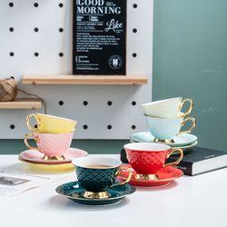 Positano Porcelain Coffee / Tea Cup Set with Sakura Spoon