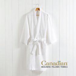 Canadian Bathrobe Cotton-Poly Waffle White Large