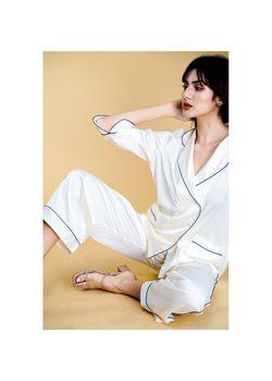 Intissimo Anastasia (Cream) Silk Long Pyjama