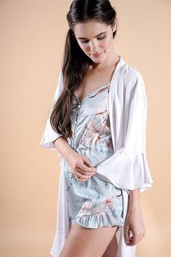 Intissimo  Ruffles  Silk Lace Robe (White)