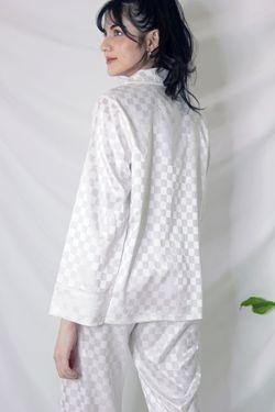 Intissimo Checkered Terno Pajama Silk Sleepwear Long Jocelyn -C