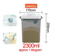 Ankou Airtight 1 Touch Button Tinted Container With Scoop Spoon and Holder with Scraper 2300ml