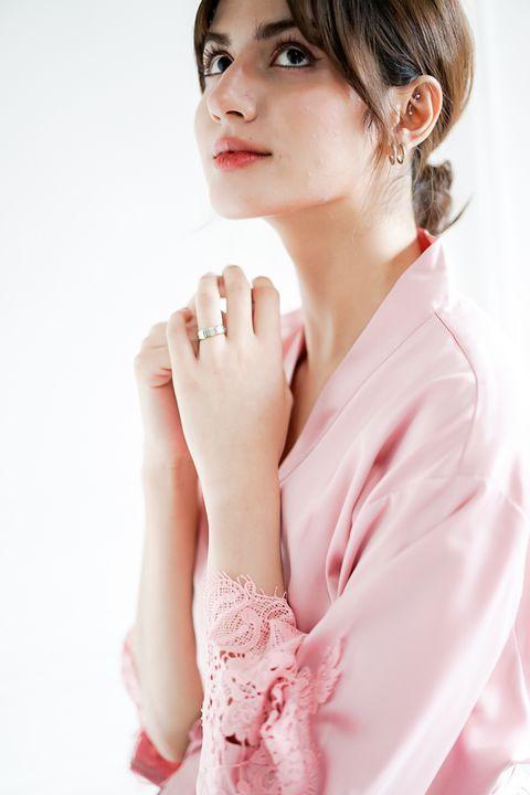 Intissimo Pam (Rose) Silk Lace Robe1