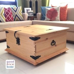 Good Nice Home Rustic Square Solid-Wood Coffee Table Storage Chest (Pre-Order)