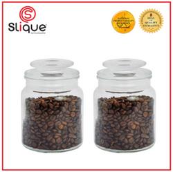 SLIQUE Premium Glass Jar w/ Glass Lid Airtight 1000ml1L Set of 2 Storage Essentials Amazing Gift Idea For Any Occasion!