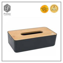 Primeo Bathroom Accessories Bamboo Black Series Tissue Box
