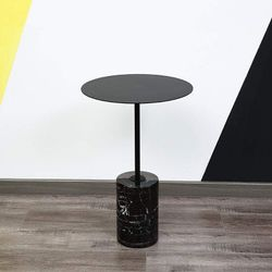Menorca Brass Side Table with Marble Base