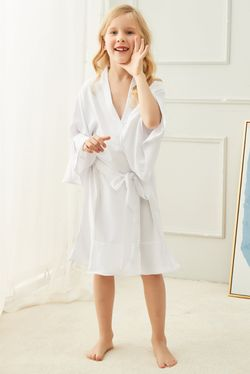 Intissimo Silk Lace Robe Ruffles Teens (White)