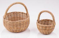 Calfurn Phebe Wicker Round Basket w/ handle S/2