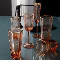 Geometric Gold Rim Color Champagne Flute